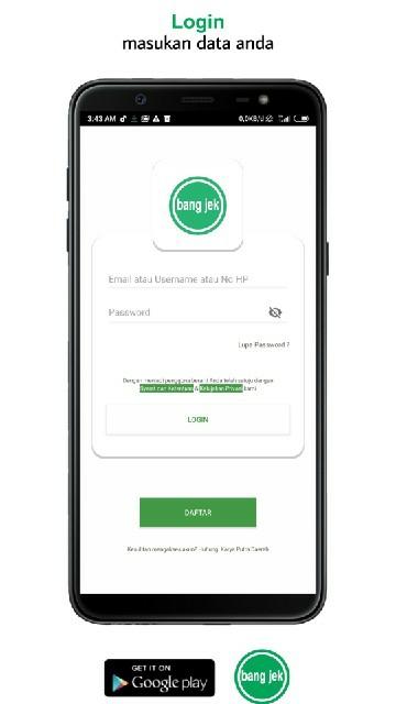 Screenshot 1 Aplikasi Bang jek