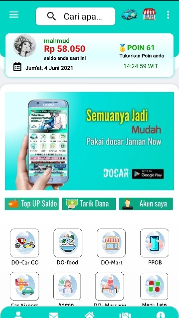 Screenshot 1 Aplikasi Docar Jaman Now