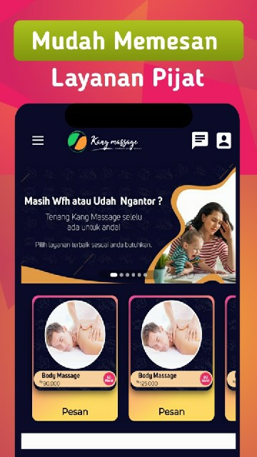 Screenshot 1 Aplikasi Kang Massage