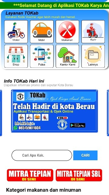Screenshot 1 Aplikasi Tokab