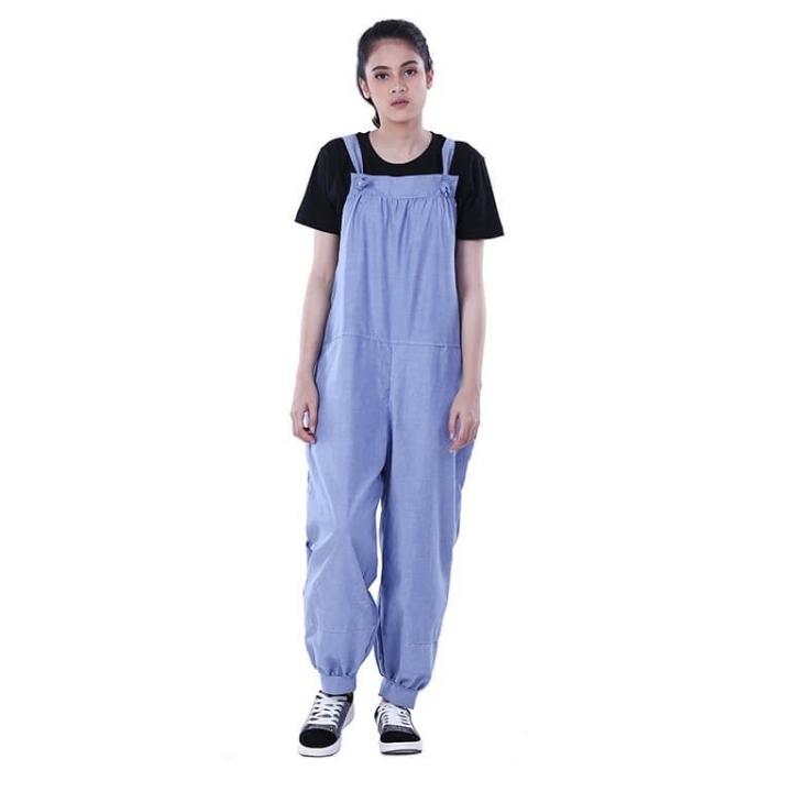 Dress Atasan Kasual Wanita Overall Blue Distro - H 3247