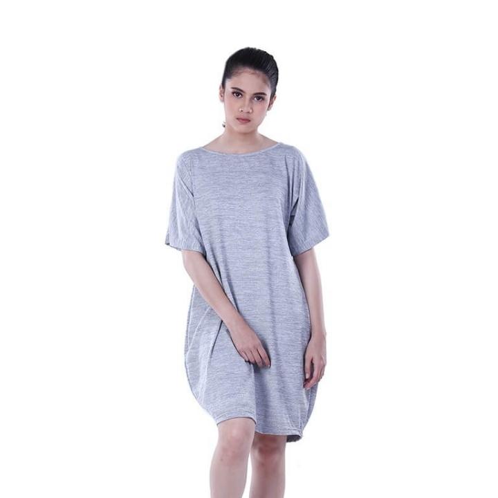 Dress Atasan Kasual Wanita Splat Grey Distro - H 3237