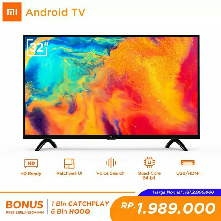 GRATIS ONGKIR Xiaomi MI LED TV 32 inch - Android Smart TV - PatchWal