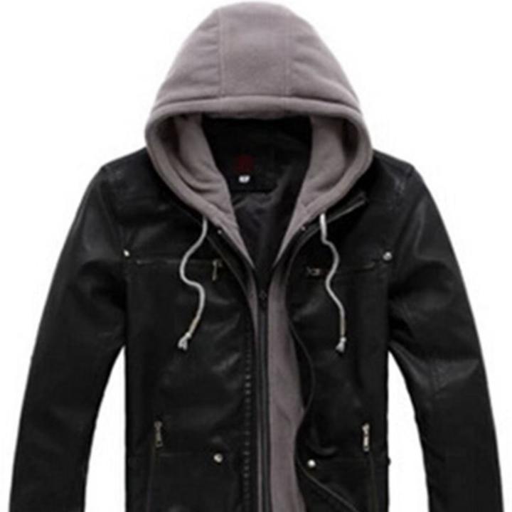Hooded Patchwork Slim Men Leather Jacket