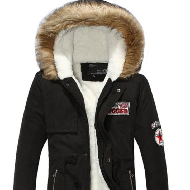 Hooded Plain Pocket Zipper Mens Warm Coat