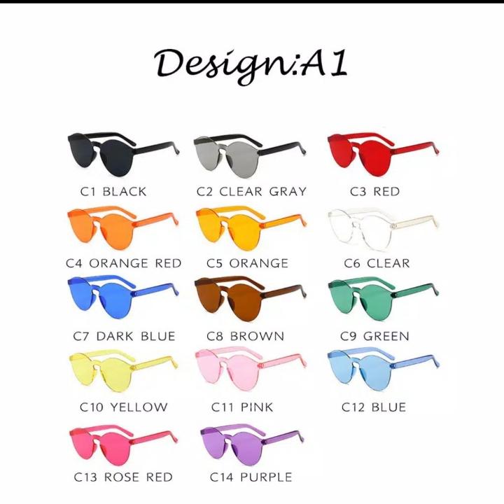 INS Fashon Kacamata Hitam WanitaPria Candy Color Bulat Kacamata Sungl