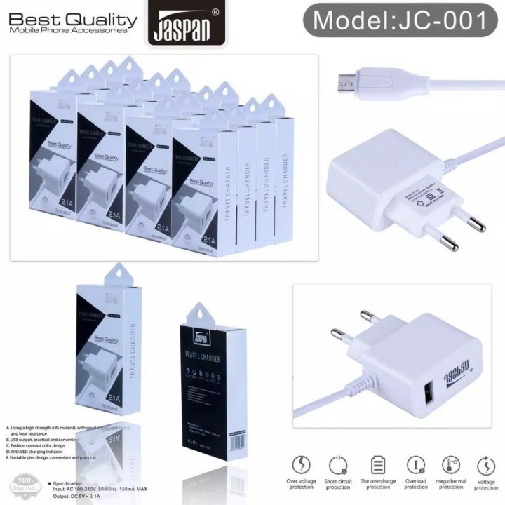 JC-001 Charger Jaspan  USB 21A Best Quality for Micro Android