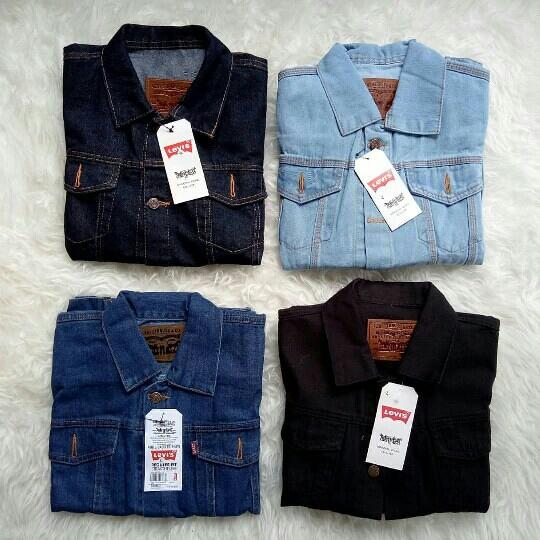 Jaket Jeans Pria Biru Pudar  jaket levis  jaket jeans pria - Hitam