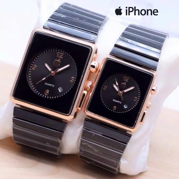 Jam Tangan Couple Apple Iphone Touch - RantaiBlack Rose Gold