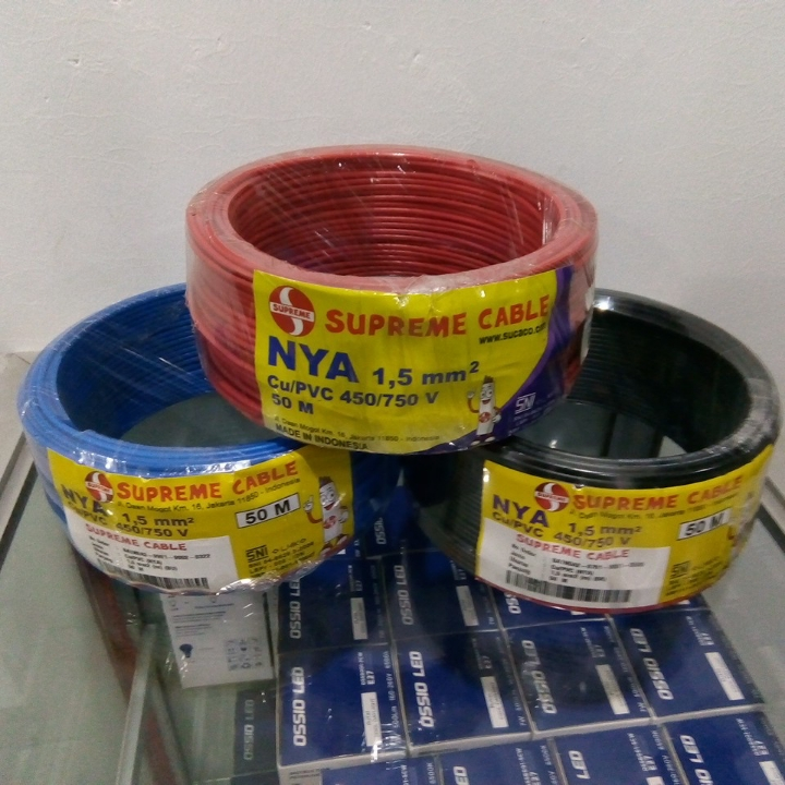 Kabel NYA Supreme 1 x 1-5 mm2 Panjang 50m