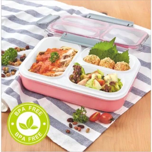 Kotak Makan 605 3 Sekat - Lunch Box motif 605 3 Grid 2
