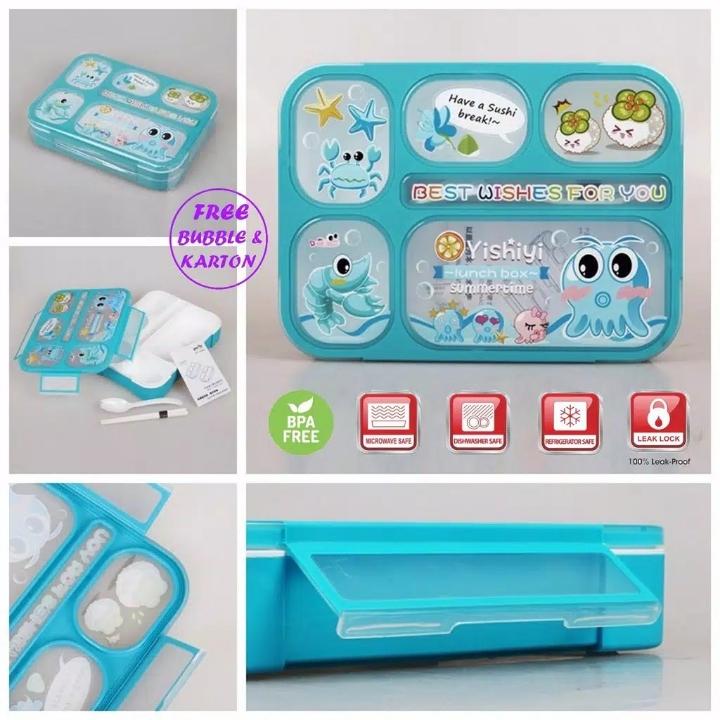 Kotak Makan 605 3 Sekat - Lunch Box motif 605 3 Grid 3