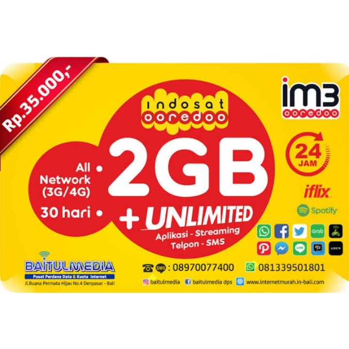 Kuota Voucher 2GB Indosat Ooredoo Unlimited 30 Hari