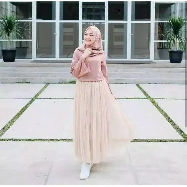 ROK TUTU MAXY Model High Waist Lipat Bahan Mesh Tulle  Elastis