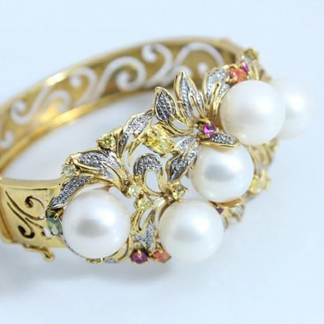UM-0105 Bracelet Palladium Of Sea Water Pearls